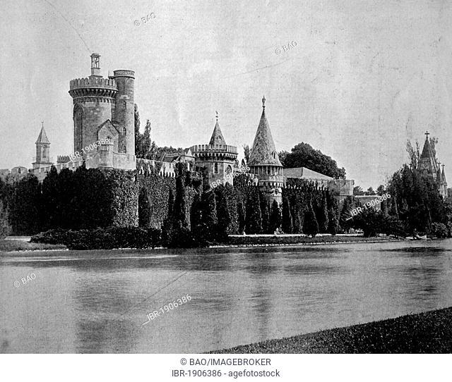 Early autotype of Franzensburg castle, Laxenburg, Lower Austria, Austria, 1880