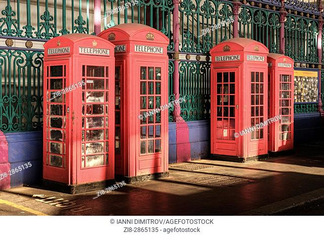 Red telephone boxes in Smithfield Market Charterhouse Street London