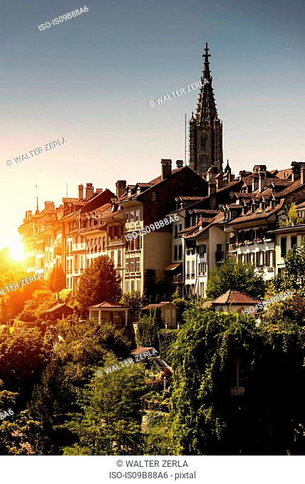 Sunset over Bern, Switzerland, Europe