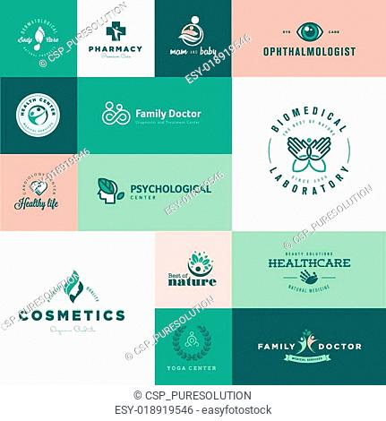 Flat design healthcare icons