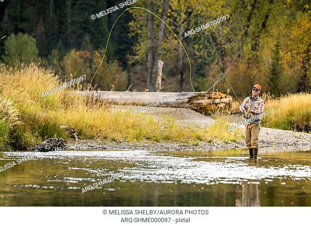 A man fly fishing on the North Fork of the Payette River in Idaho on a Fall morning