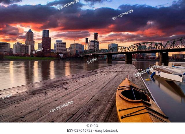 Portland, Oregon Panorama. Sunset scene with dramatic sky and light reflections on the Willamette River