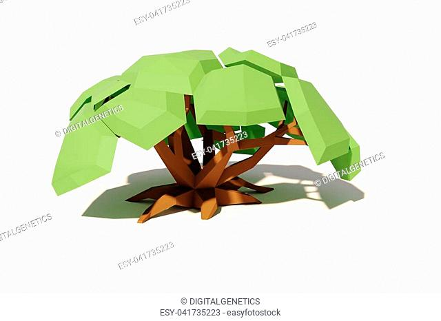 3d cartoon tree on white background