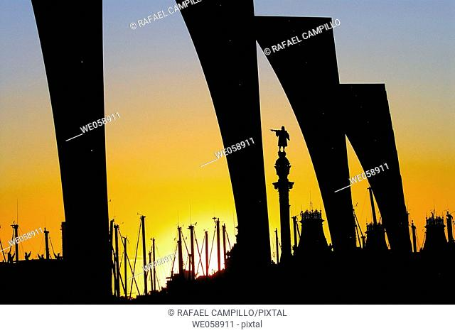 Monument to Columbus at Port Vell, Barcelona. Catalonia, Spain