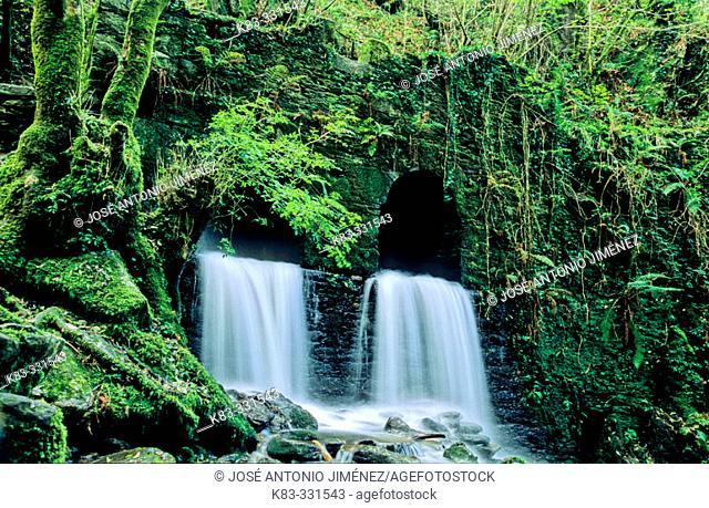 Waterfalls from bridge in Caaveiro. La Coruña province. Galicia. Spain