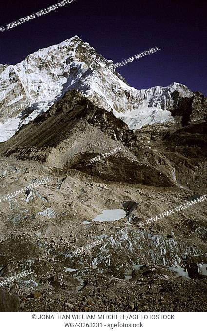 NEPAL Khumbu Glacier -- Dec 2005 -- The top of the Khumbu Glacier, a popular climbing route to the summit of Mount Everest (upper right) this glacier has...