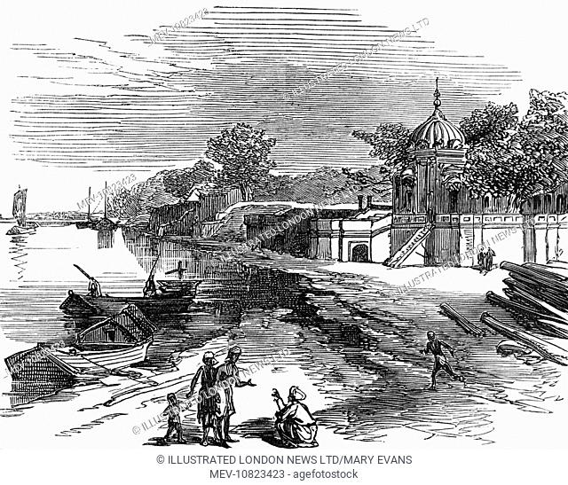 The Suttee Chowrah Ghaut(Satichaura Ghat), later known as massacre Ghaut at Cawnpore, India, pictured as it was in 1860. The site is associated with the Indian...