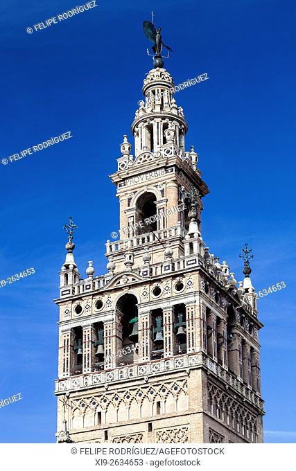 Detail of the Giralda tower, Seville, Spain