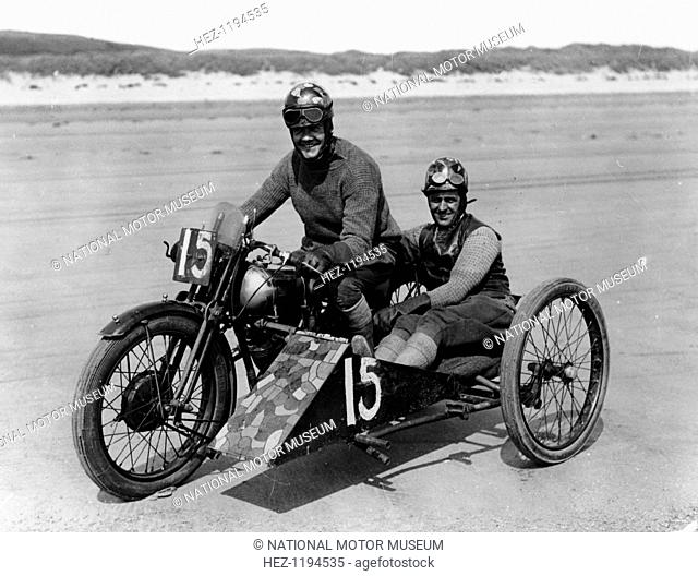 CE Edwards on a Brough Superior, Pendine Sands, Carmarthenshire, Wales, (c1920s?). Pendine Sands was a venue for racing and speed record attempts in the 1920s