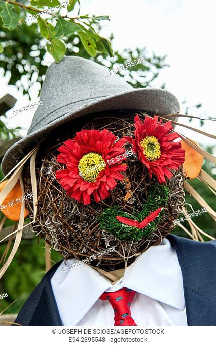 Close up of a scarecrow face in a garden.Georgia USA