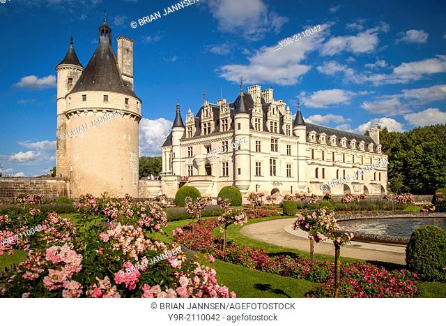 Gardens below the ancient guard tower and Chateau Chenonceau, Indre-et-Loire, Centre France