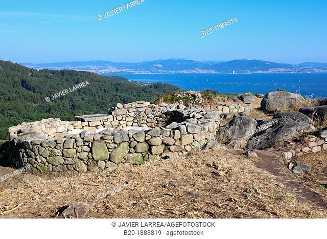 Poblado Castrexo Monte do Facho, The Iron-Age settlement of the Facho Mountain, Cabo de Home, Ria de Vigo, Cangas, Pontevedra province, Galicia, Spain