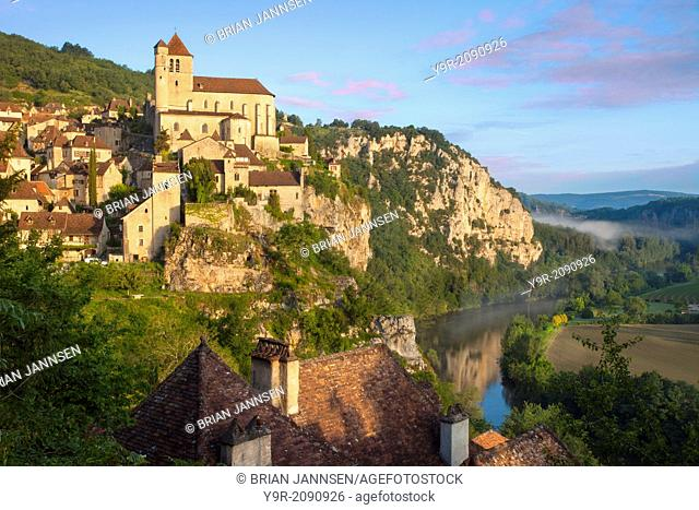 Sunrise over Saint-Cirq-Lapopie in the Lot Valley, Midi-Pyreness, France
