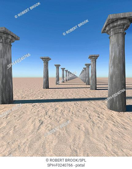 Seemingly endless rows of columns in desert. Computer generated image