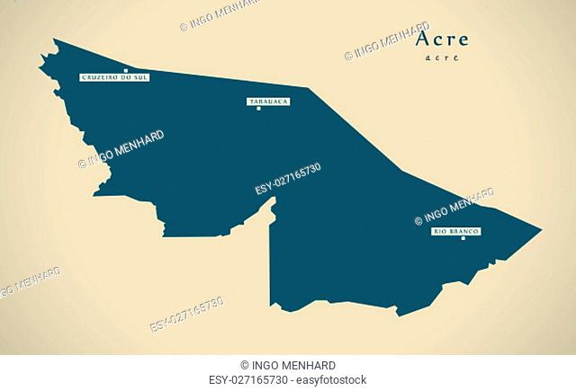 Modern Map - Acre BR Brazil Illustration