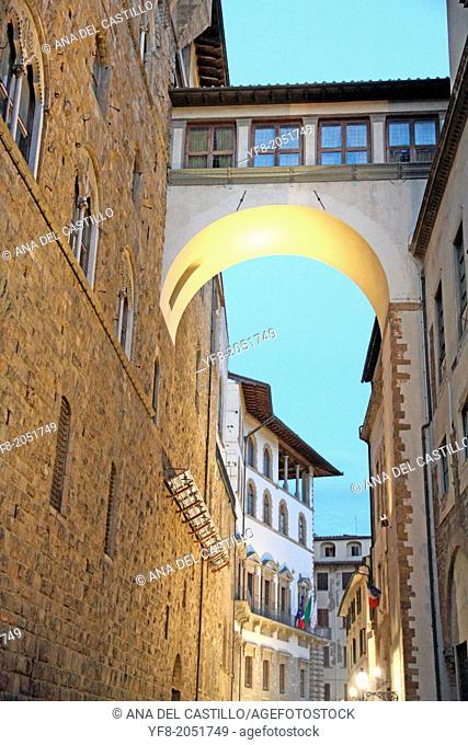 Uffizi gallery from Piazza Signoria dusk Florence