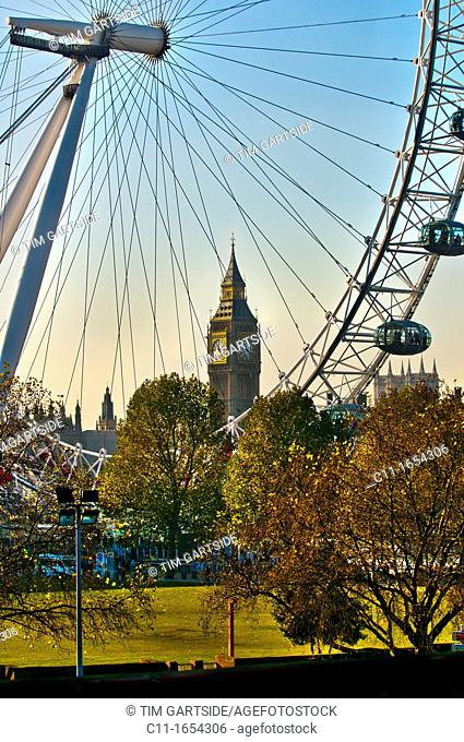 big ben and london eye, london,england,uk,europe