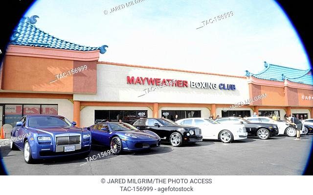 Boxer Floyd Mayweather Jr. and 50 Cent cars at Mayweather Boxing Gym on April 24, 2012 in Las Vegas, Nevada