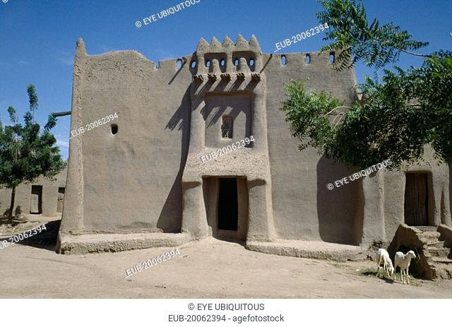 Traditional 17th to 18th Century adobe mud brick two storey house of a Marabout