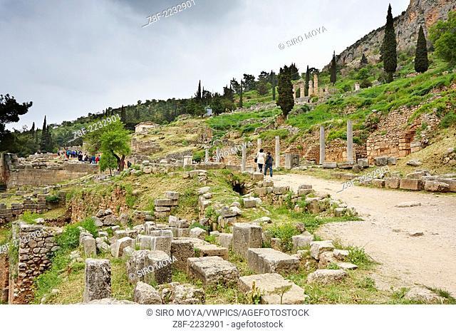 Sacred way (via sacra), Sanctuary of Apollo, Delphi, Greece