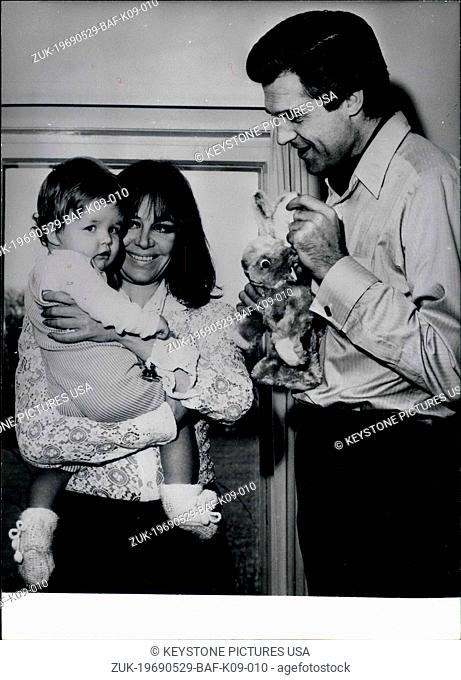 May 29, 1969 - Pictured are German actress,singer, and writer Hildegard Knef with her then husband David Cameron. Knef is holding her one year old daughter...