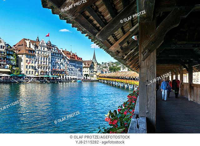 View from the Kapellbruecke at the old town of Lucerne, Switzerland