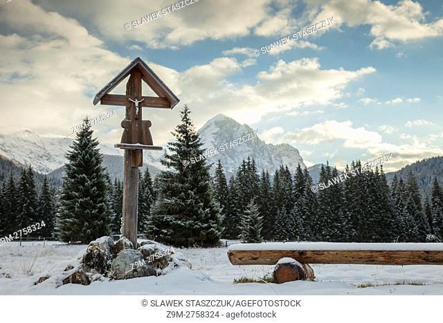 Winter morning in Valle Visdende, Belluno province, Veneto, Italy. Dolomites
