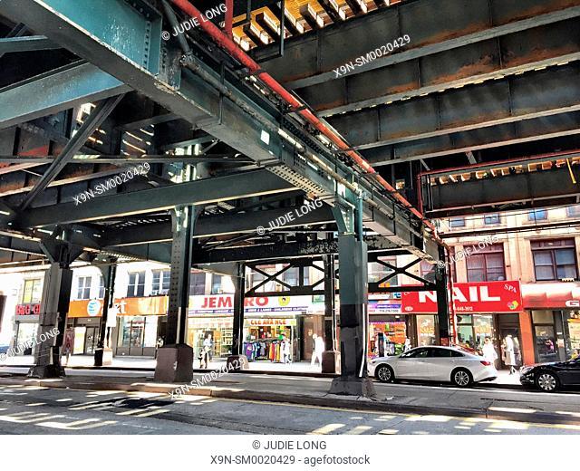 Brooklyn, NY Brighton Beach Avenue, Looking Under the Elevated MTA Train Tracks