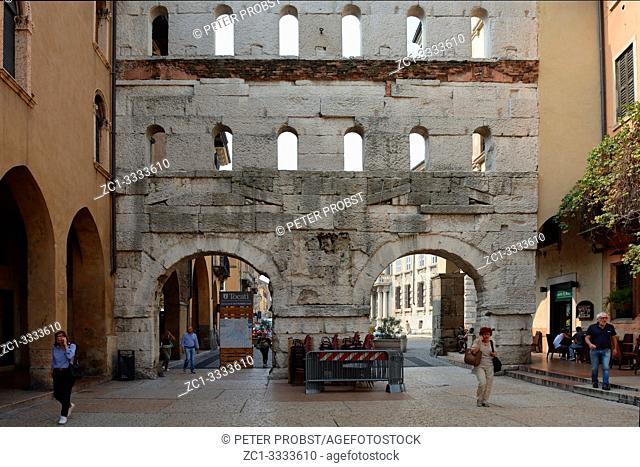 Ancient Roman gate Porta Borsari from the 1st century of Verona - Italy