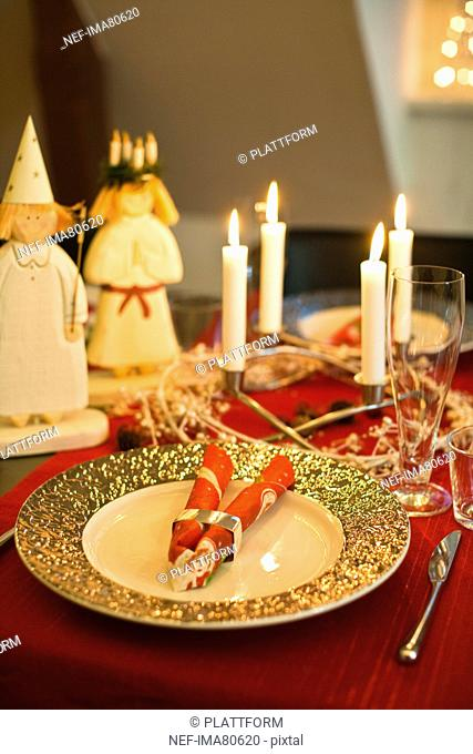 Traditional christmas dinner decoration
