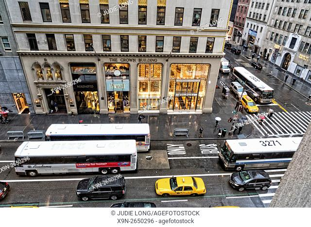 Looking Down at Fifth Avenue and West 57th Street on a Rainy Day,