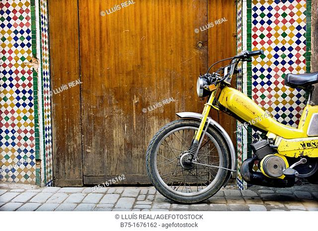 Moped in The Medina, Marrakech, Morocco, Africa