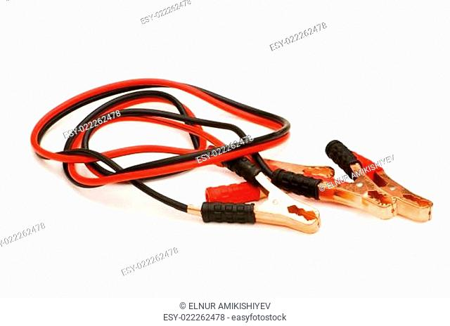 Battery cables isolated on the white background