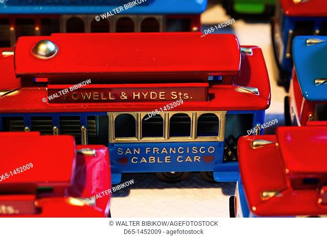 USA, California, San Francisco, miniature San Francisco cable car toys