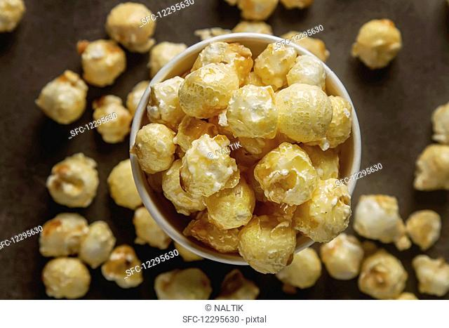Popcorn in a cup (top view)