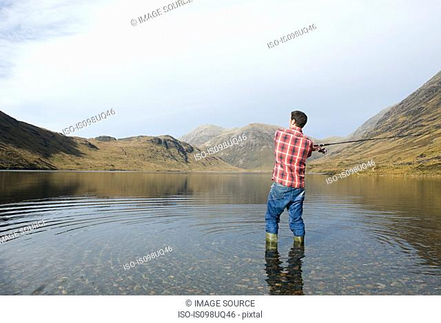 Man fishing in lake