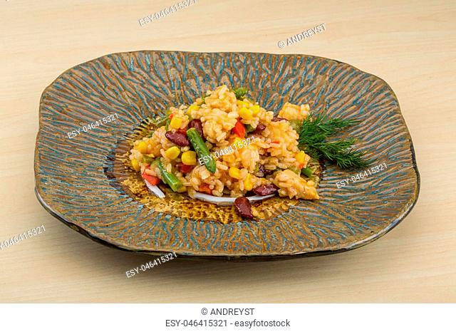 Mexican rice mix with beans, corn and chicken