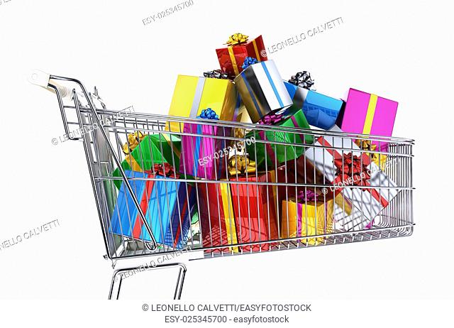 Supermarket trolley full of multicolored gifts. Side view, on white background. Clipping path included