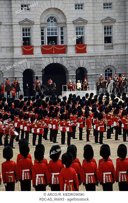 Trooping the Colour Queen Elizabeth II at the birthday parade London England Soldiers