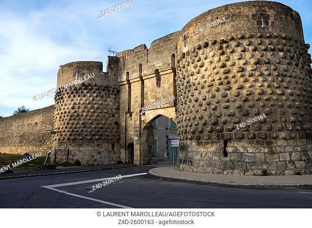 The Saint John Gate and Rampart of the City of Montreuil Bellay. Maine et Loire Department, Pays de la Loire Region, Loire Valley, France, Europe