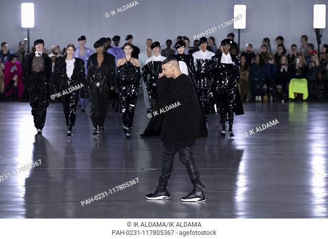 BALMAIN creative director Olivier Rousteing at BALMAIN runway show during Paris Fashion Week, AW19, Autumn Winter 2019 collection - Paris