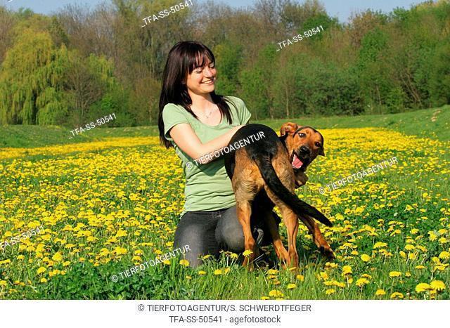 woman and Shepherd-Mongrel