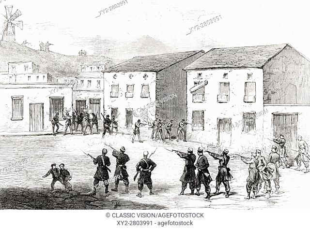 Carabiniers resisting the insurgents at Cartagena, Murcia Province, Spain during 3rd Carlist War, from Illustrated London News October 4 1873