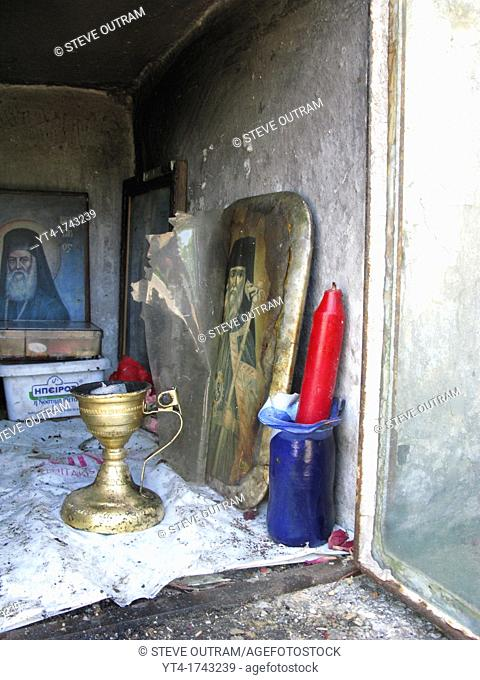 The Inside a Greek Roadside Shrine, Crete, Greece