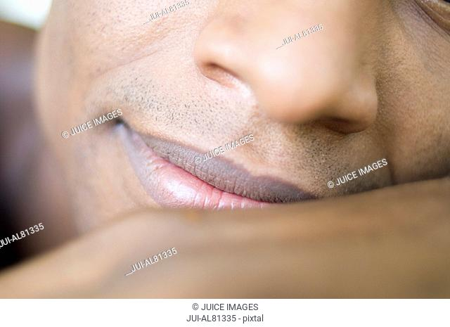 Extreme close up of African man's face