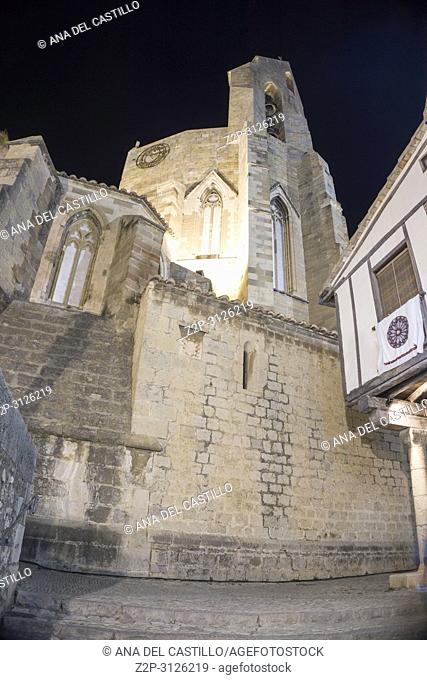 Morella cathedral by night in Castellon province Spain