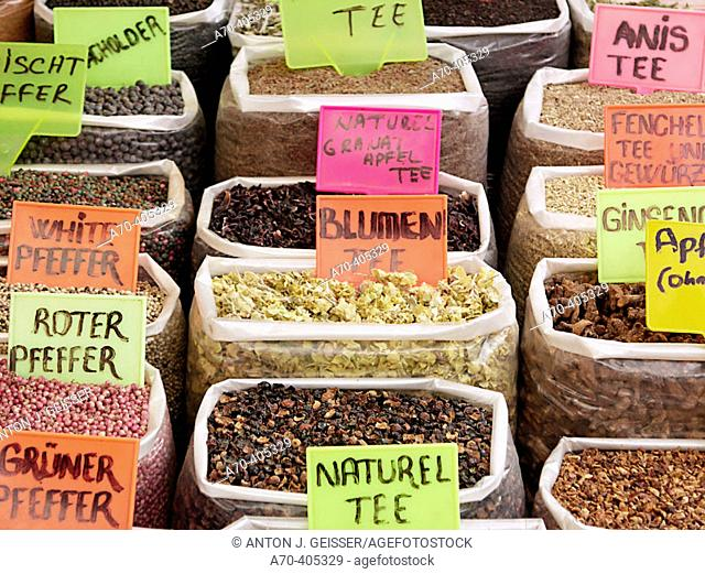 Teas and spices at market. Manavgat. Turkey