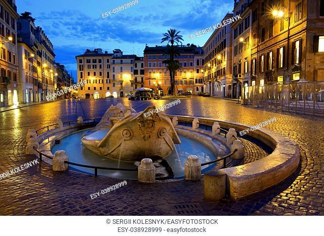 Fountain Barcaccia on Piazza di Spagna in Rome, Italy