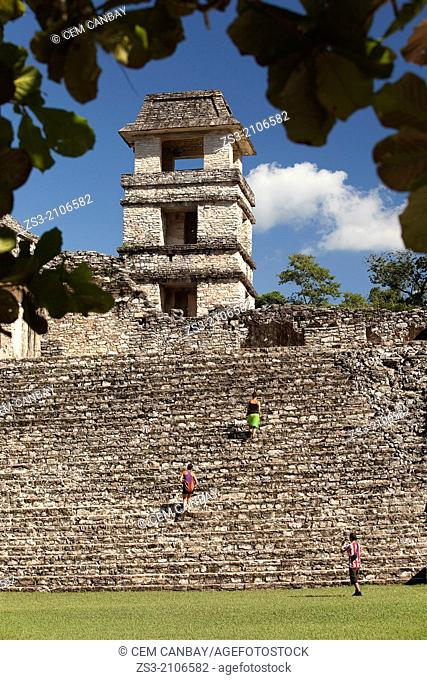 The Palace- Observation Tower, Prehispanic Mayan Archaeological Site of Palenque, Chiapas Region, Mexico, North America