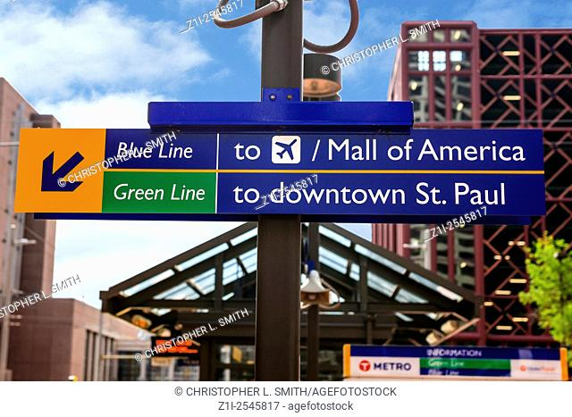 Overhead sign - at the Metro stop in downtown Minneapolis city